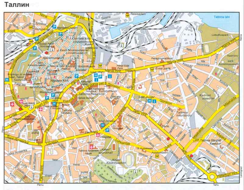 Эстония, карта Таллина.  Подробная карта г.Таллин на эстонском языке.